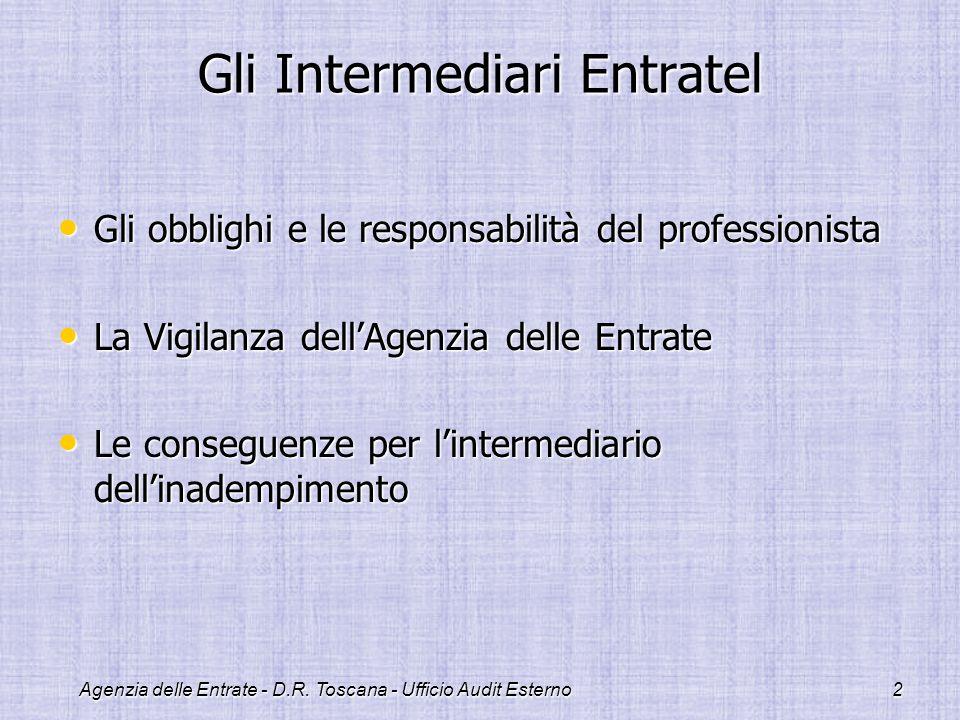Agenzia delle Entrate - D.R. Toscana - Ufficio Audit Esterno2 Gli Intermediari Entratel Gli obblighi e le responsabilità del professionista Gli obblig