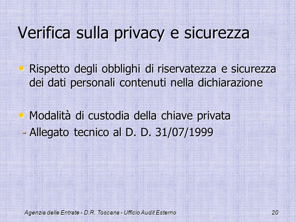 Agenzia delle Entrate - D.R. Toscana - Ufficio Audit Esterno20 Verifica sulla privacy e sicurezza Rispetto degli obblighi di riservatezza e sicurezza