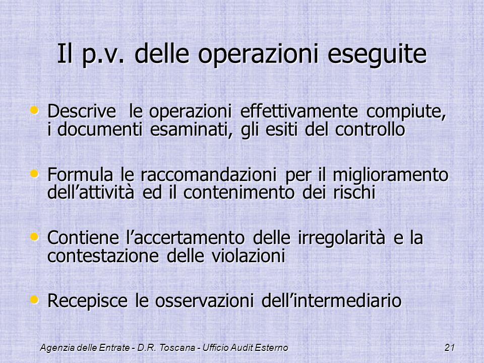 Agenzia delle Entrate - D.R. Toscana - Ufficio Audit Esterno21 Il p.v. delle operazioni eseguite Descrive le operazioni effettivamente compiute, i doc
