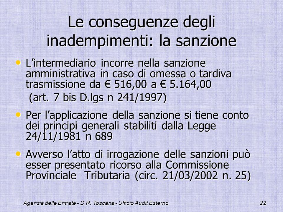 Agenzia delle Entrate - D.R. Toscana - Ufficio Audit Esterno22 Le conseguenze degli inadempimenti: la sanzione Lintermediario incorre nella sanzione a