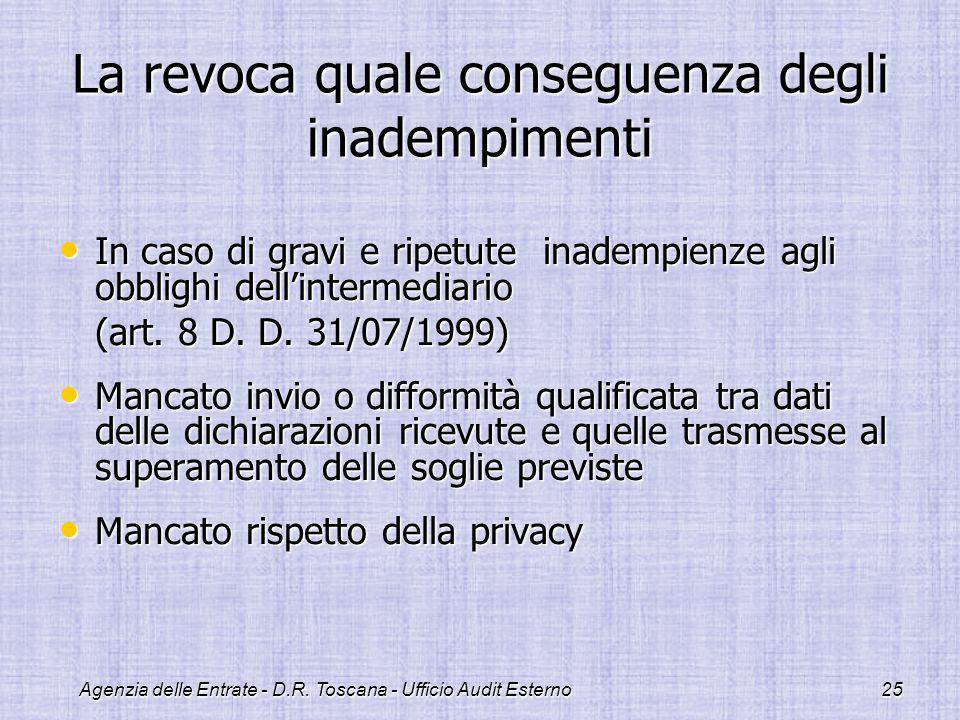 Agenzia delle Entrate - D.R. Toscana - Ufficio Audit Esterno25 La revoca quale conseguenza degli inadempimenti In caso di gravi e ripetute inadempienz