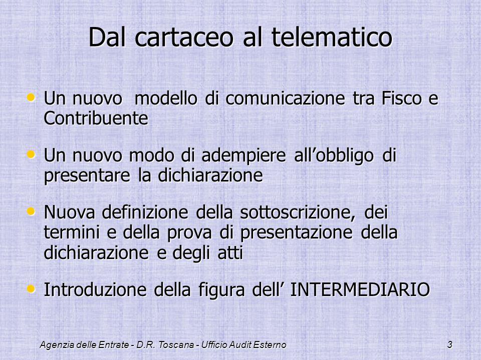 Agenzia delle Entrate - D.R. Toscana - Ufficio Audit Esterno3 Dal cartaceo al telematico Un nuovo modello di comunicazione tra Fisco e Contribuente Un