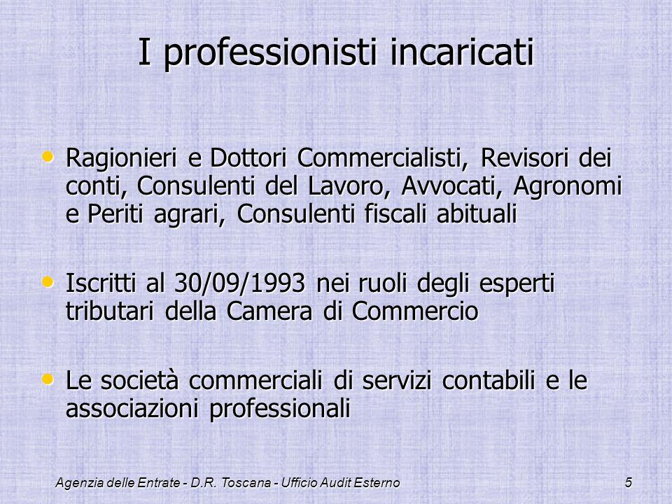 Agenzia delle Entrate - D.R. Toscana - Ufficio Audit Esterno5 I professionisti incaricati Ragionieri e Dottori Commercialisti, Revisori dei conti, Con
