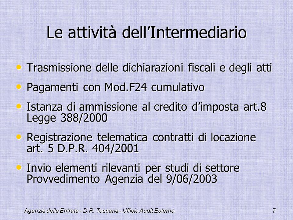 Agenzia delle Entrate - D.R. Toscana - Ufficio Audit Esterno7 Le attività dellIntermediario Trasmissione delle dichiarazioni fiscali e degli atti Tras