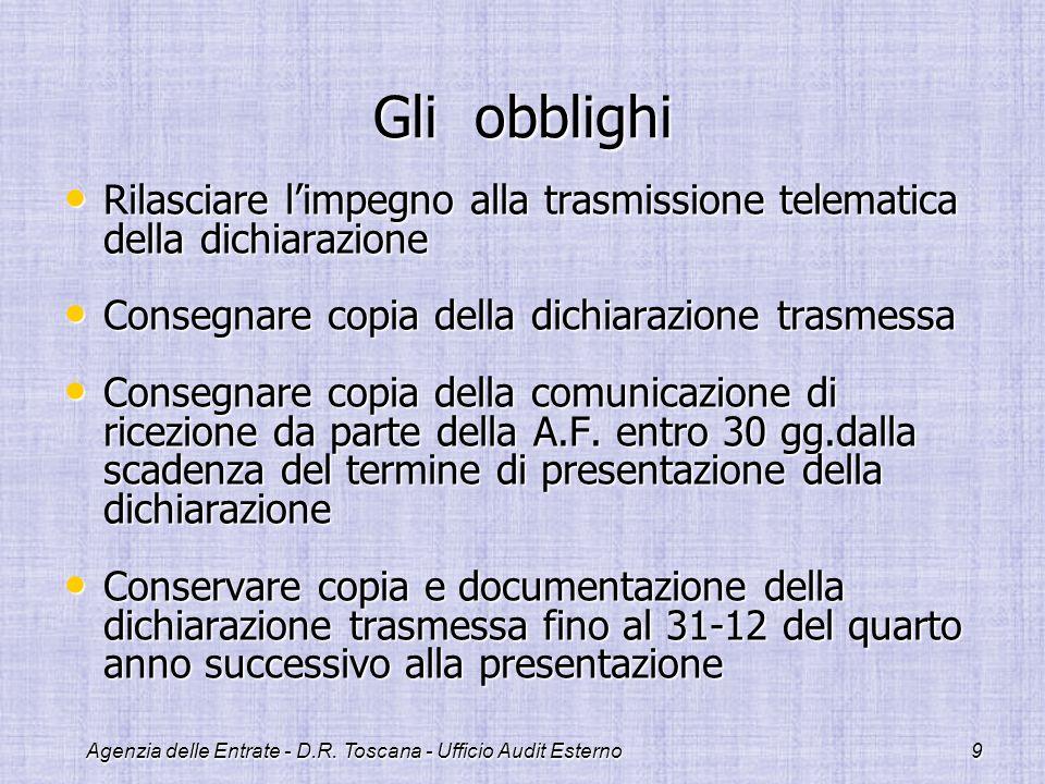 Agenzia delle Entrate - D.R. Toscana - Ufficio Audit Esterno9 Gli obblighi Rilasciare limpegno alla trasmissione telematica della dichiarazione Rilasc