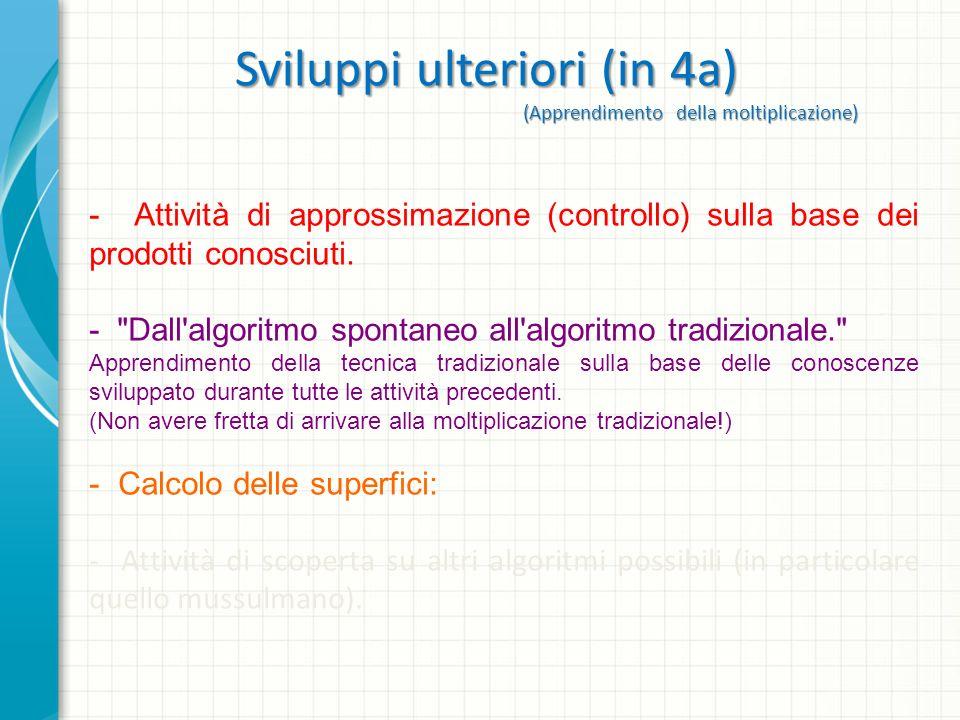 Sviluppi ulteriori (in 4a) (Apprendimento della moltiplicazione) - Attività di approssimazione (controllo) sulla base dei prodotti conosciuti. -