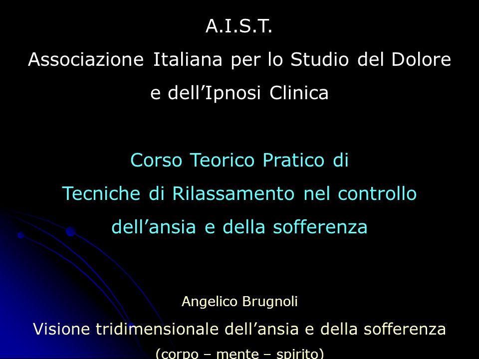 A.I.S.T. Associazione Italiana per lo Studio del Dolore e dellIpnosi Clinica Corso Teorico Pratico di Tecniche di Rilassamento nel controllo dellansia