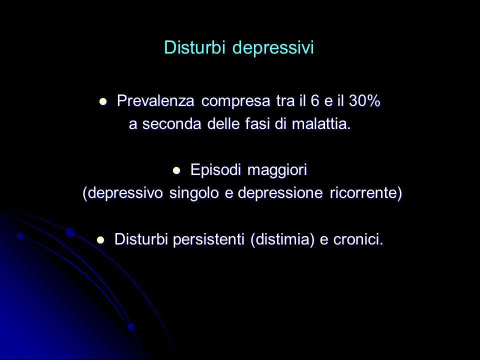 Disturbi depressivi Prevalenza compresa tra il 6 e il 30% Prevalenza compresa tra il 6 e il 30% a seconda delle fasi di malattia. Episodi maggiori Epi