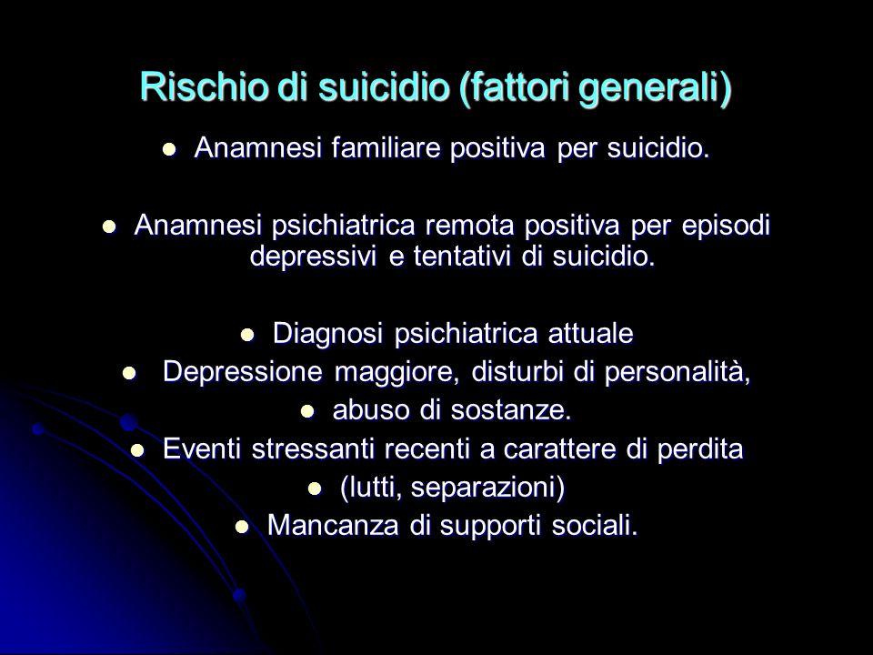 Rischio di suicidio (fattori generali) Anamnesi familiare positiva per suicidio. Anamnesi familiare positiva per suicidio. Anamnesi psichiatrica remot