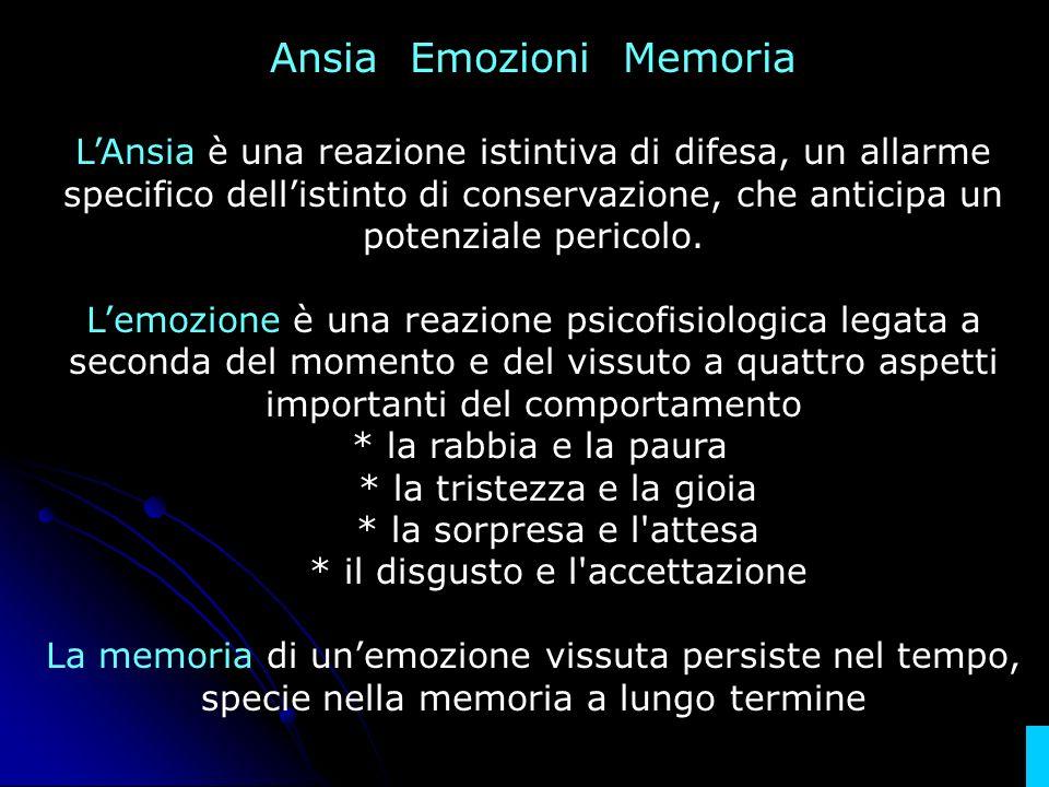 Ansia Emozioni Memoria LAnsia è una reazione istintiva di difesa, un allarme specifico dellistinto di conservazione, che anticipa un potenziale perico