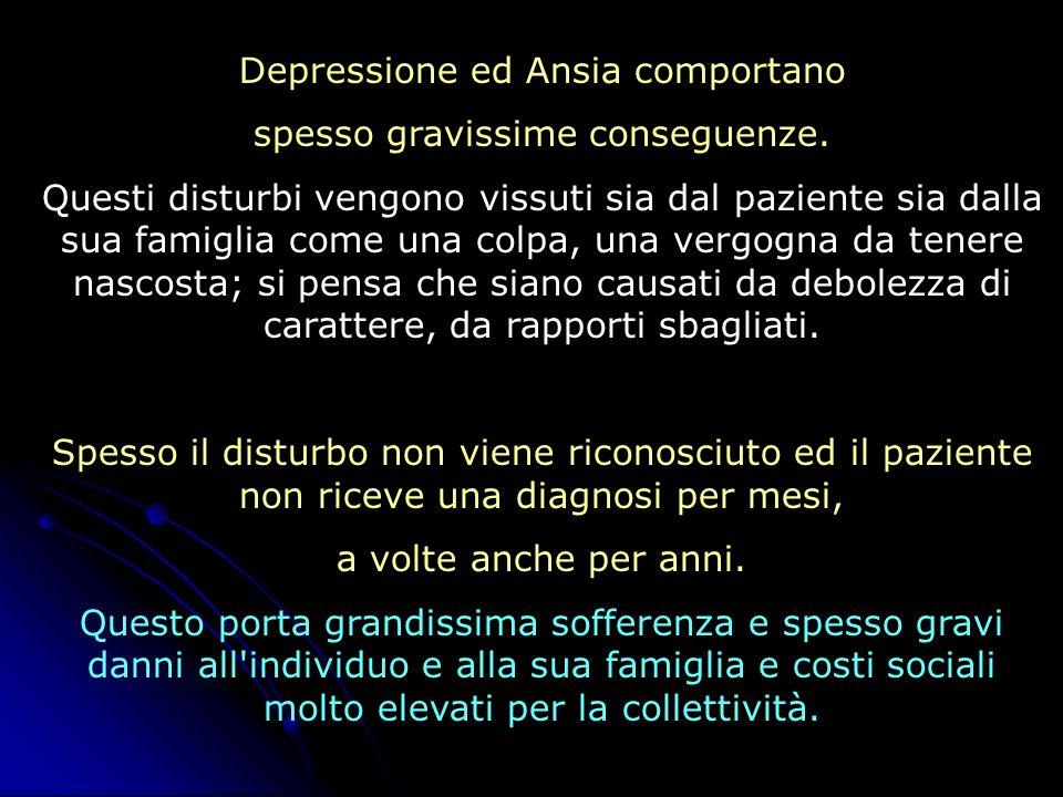 Depressione ed Ansia comportano spesso gravissime conseguenze. Questi disturbi vengono vissuti sia dal paziente sia dalla sua famiglia come una colpa,