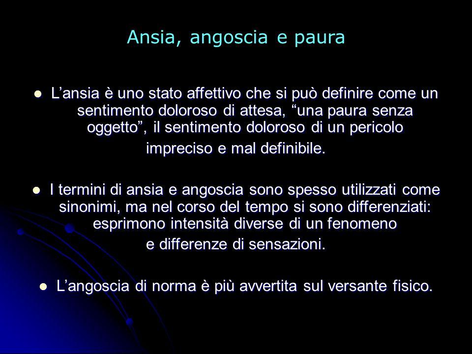 Ansia, angoscia e paura Lansia è uno stato affettivo che si può definire come un sentimento doloroso di attesa, una paura senza oggetto, il sentimento