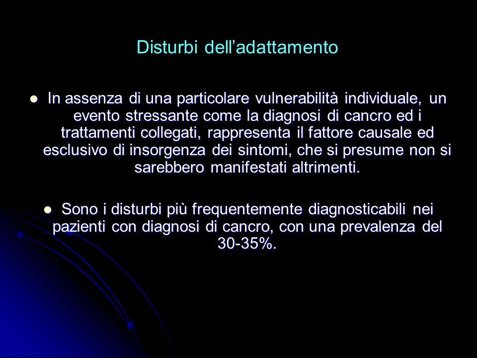 Disturbi delladattamento In assenza di una particolare vulnerabilità individuale, un evento stressante come la diagnosi di cancro ed i trattamenti col
