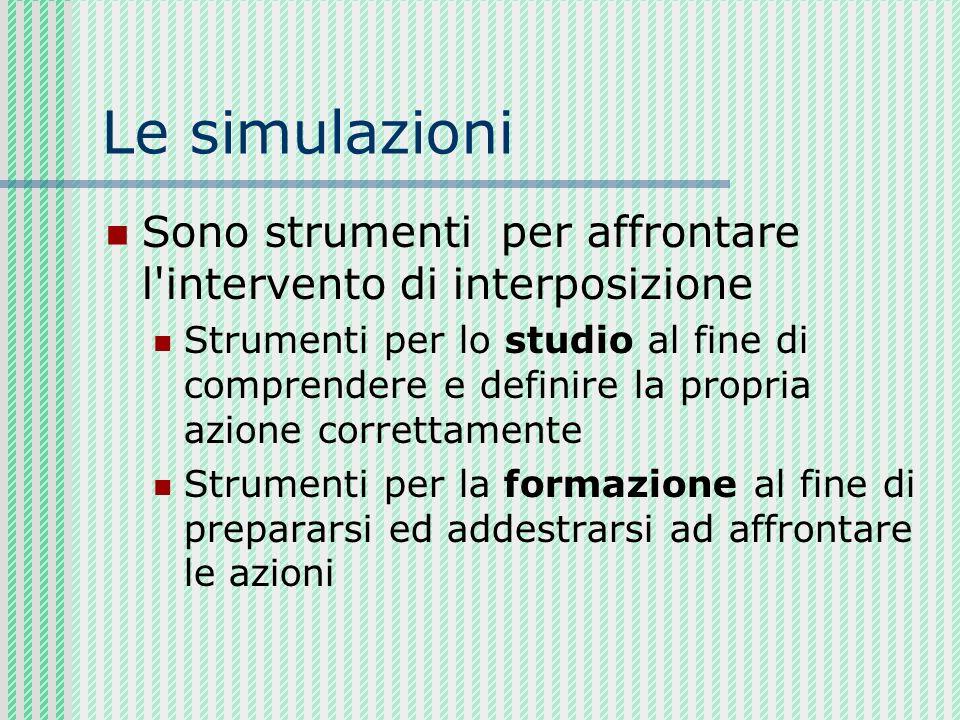 Le simulazioni Simulazioni teatrali: vengono rappresentati dei ruoli in maniera teatrale coinvolgendo i partecipanti anche da un punto di vista emotivo.