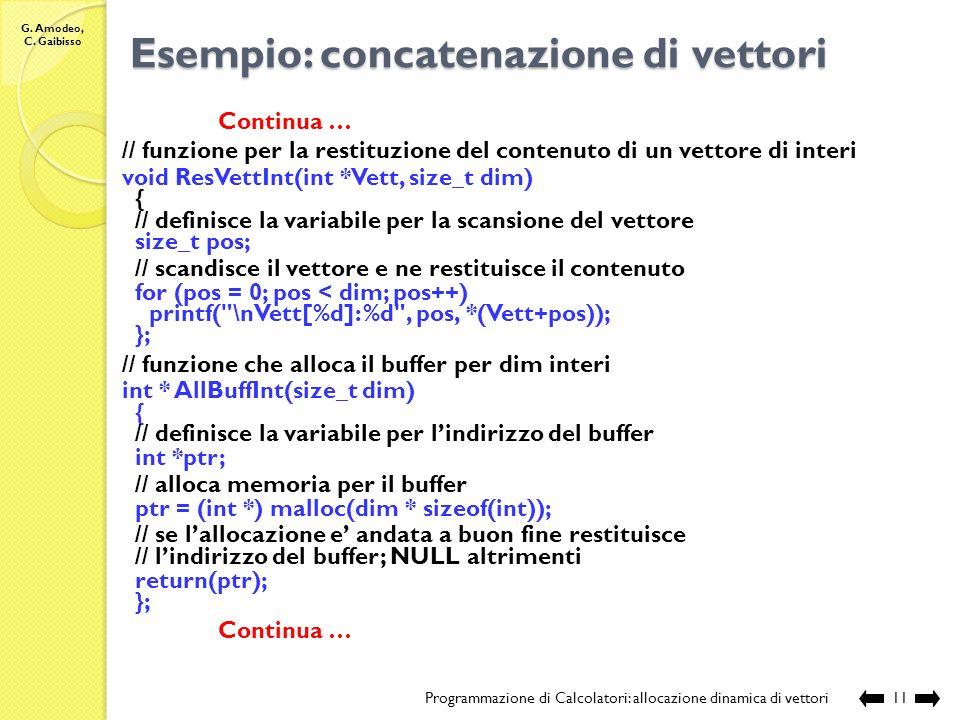 G. Amodeo, C. Gaibisso Esempio: concatenazione di vettori Programmazione di Calcolatori: allocazione dinamica di vettori10 // sorgente: Lezione_XVII\V