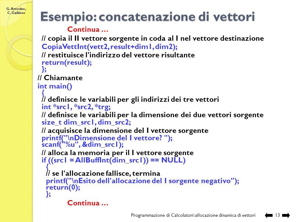 G. Amodeo, C. Gaibisso Esempio: concatenazione di vettori Programmazione di Calcolatori: allocazione dinamica di vettori12 Continua … // funzione che