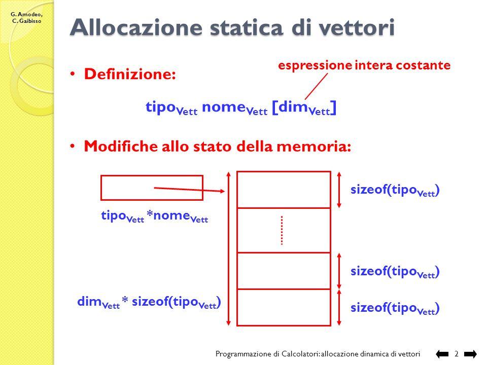 G. Amodeo, C. Gaibisso Programmazione di Calcolatori Lezione XVII Allocazione dinamica di vettori Programmazione di Calcolatori: allocazione dinamica