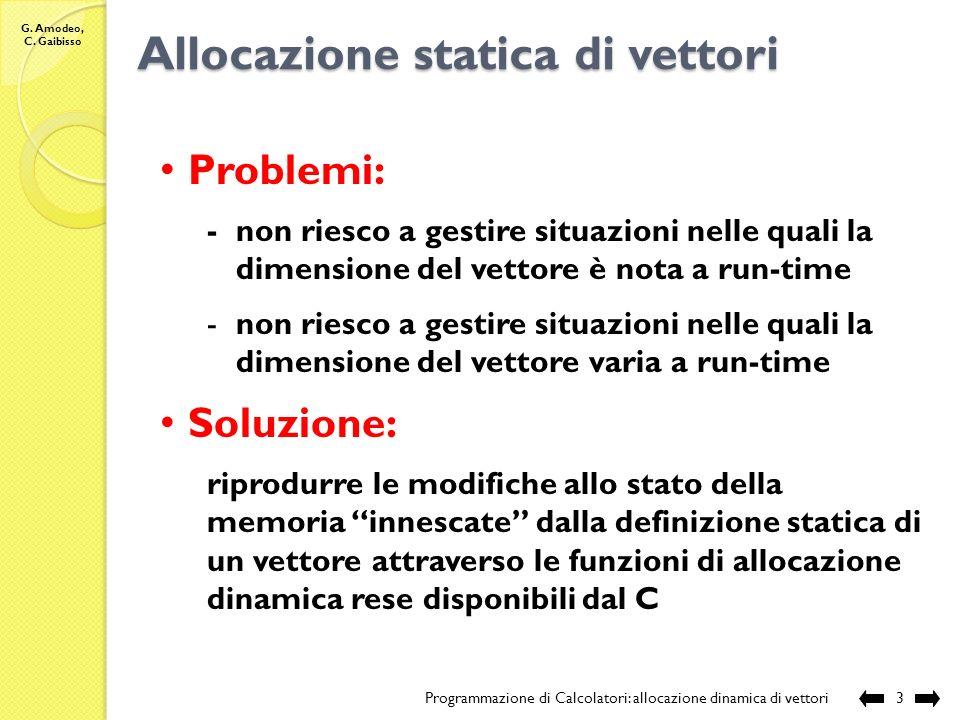 G. Amodeo, C. Gaibisso Allocazione statica di vettori Programmazione di Calcolatori: allocazione dinamica di vettori2 Definizione: tipo Vett nome Vett
