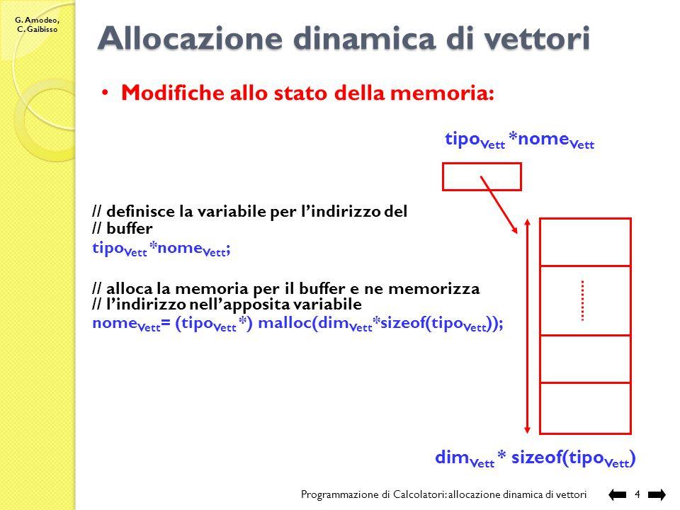 G. Amodeo, C. Gaibisso Allocazione statica di vettori Programmazione di Calcolatori: allocazione dinamica di vettori3 Problemi: -non riesco a gestire