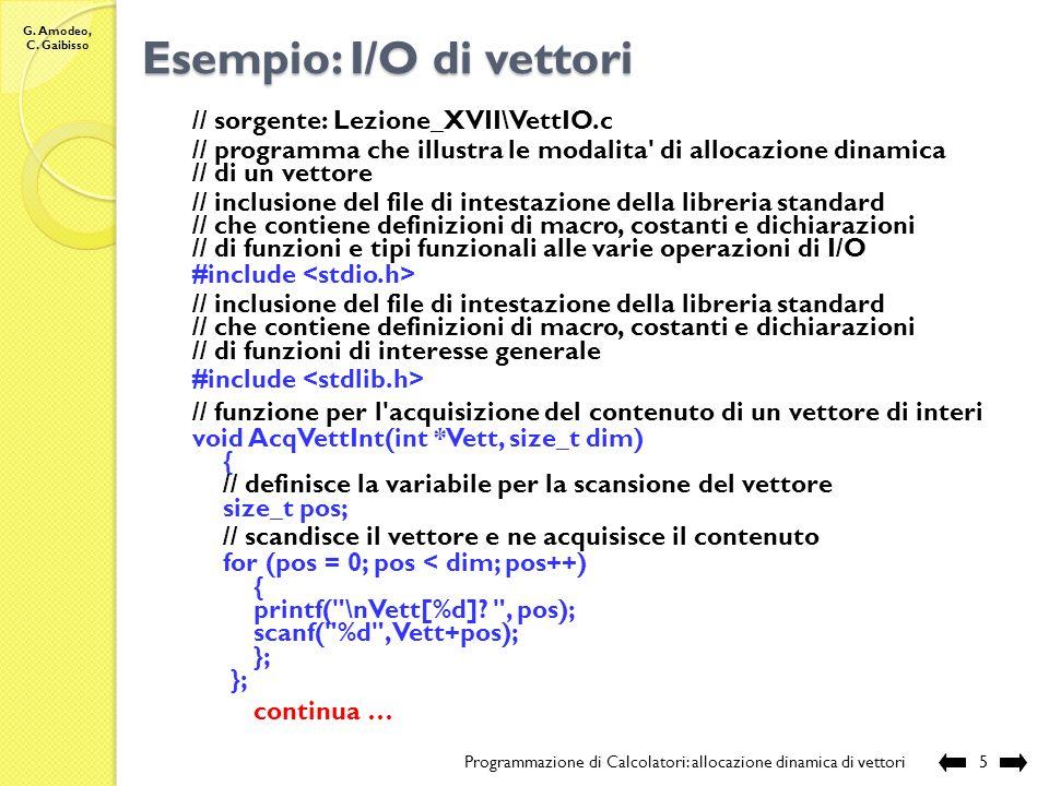 G. Amodeo, C. Gaibisso Allocazione dinamica di vettori Programmazione di Calcolatori: allocazione dinamica di vettori4 Modifiche allo stato della memo