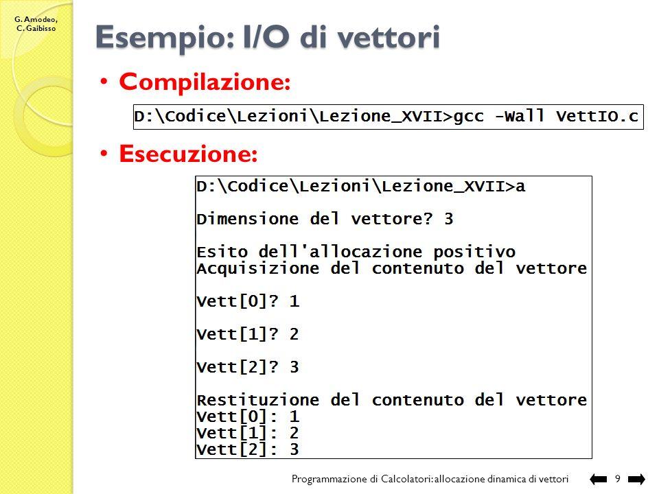 G. Amodeo, C. Gaibisso Esempio: I/O di vettori Programmazione di Calcolatori: allocazione dinamica di vettori8 continua … // rilascia la memoria alloc