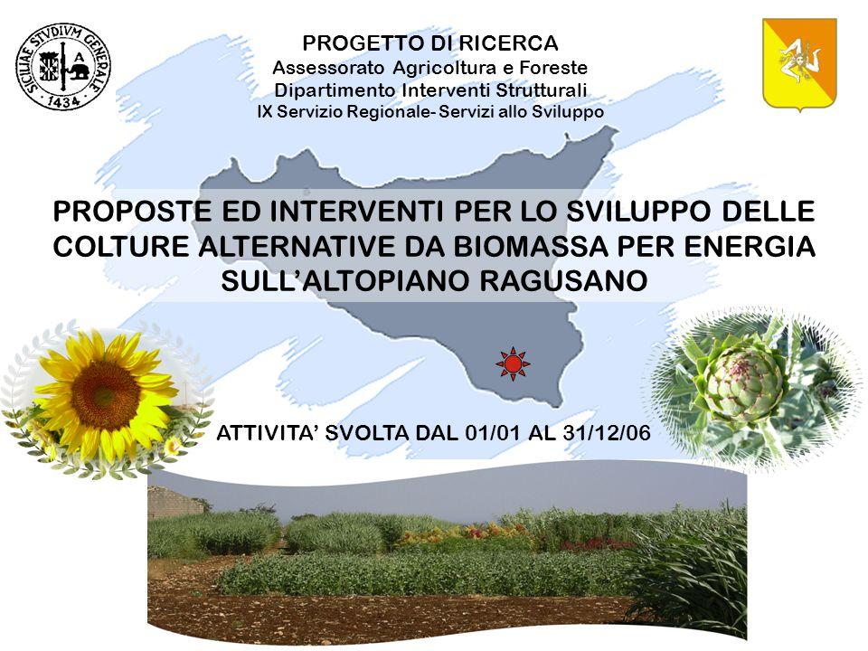 PROPOSTE ED INTERVENTI PER LO SVILUPPO DELLE COLTURE ALTERNATIVE DA BIOMASSA PER ENERGIA SULLALTOPIANO RAGUSANO PROGETTO DI RICERCA Assessorato Agrico