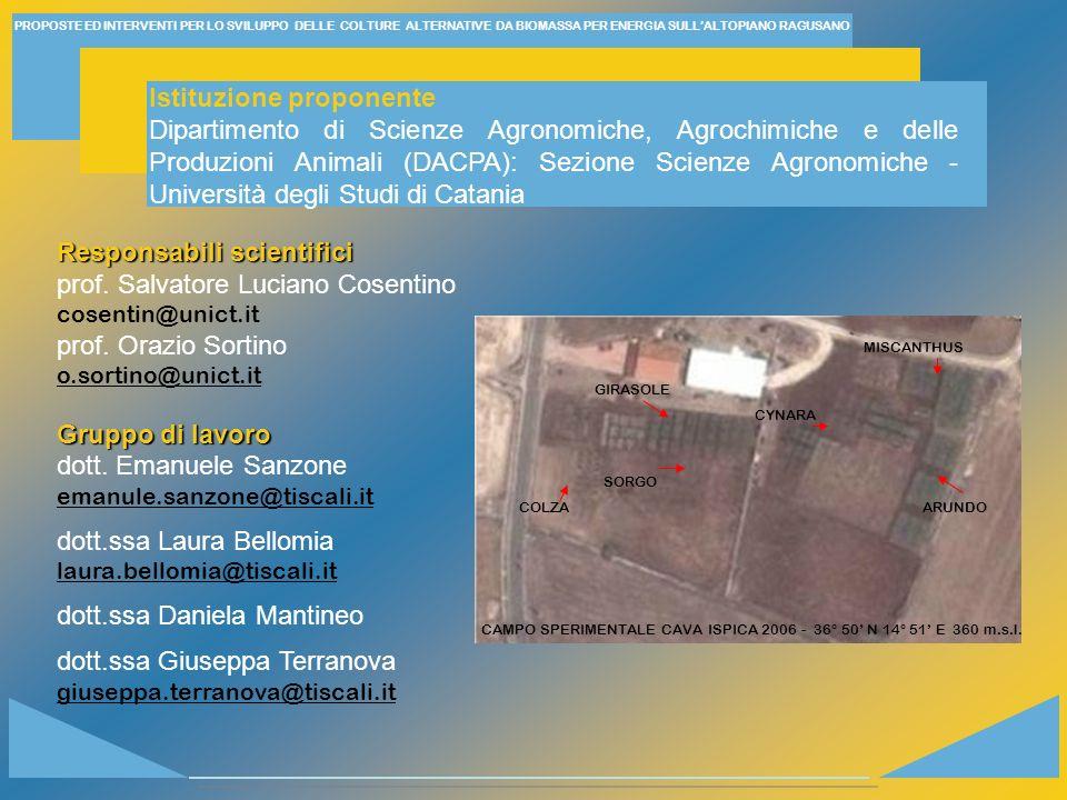 Responsabili scientifici prof. Salvatore Luciano Cosentino cosentin@unict.it prof. Orazio Sortino o.sortino@unict.it Gruppo di lavoro dott. Emanuele S