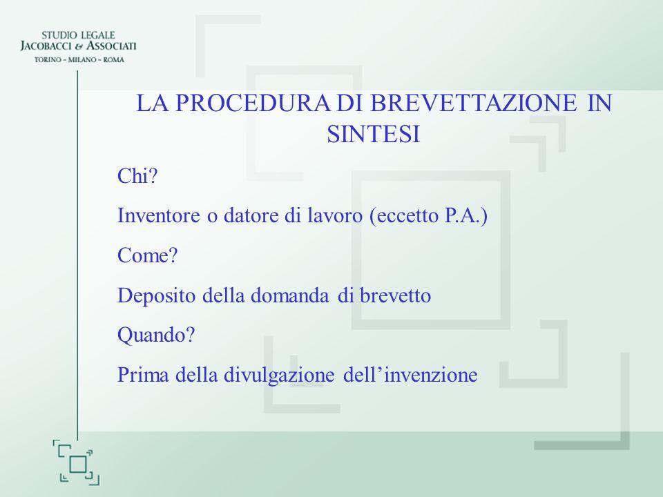 LA PROCEDURA DI BREVETTAZIONE IN SINTESI Chi. Inventore o datore di lavoro (eccetto P.A.) Come.