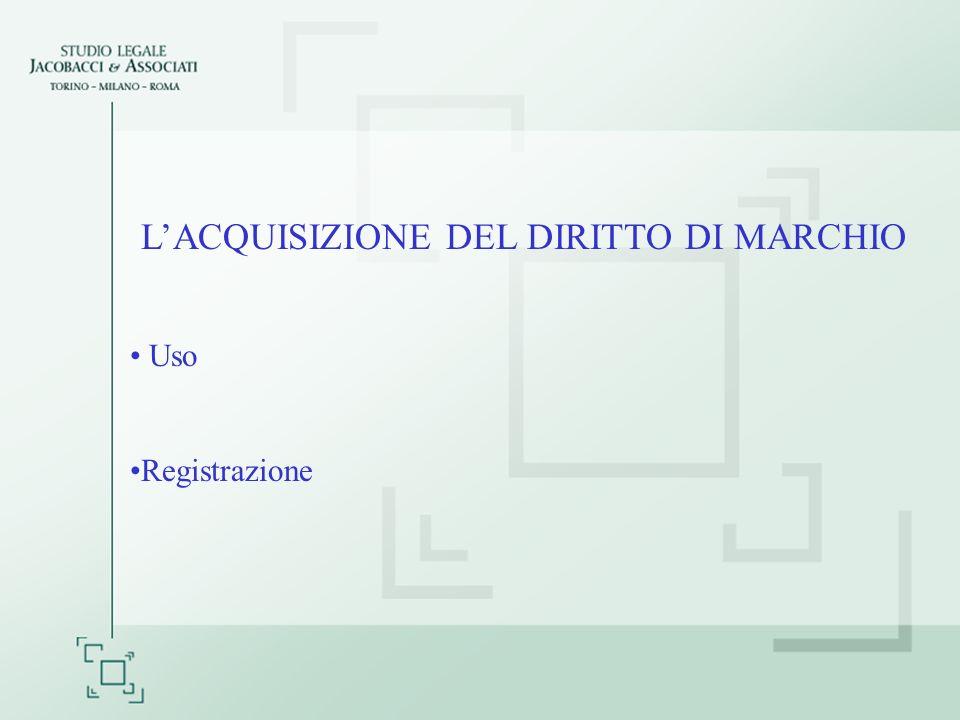 LACQUISIZIONE DEL DIRITTO DI MARCHIO Uso Registrazione