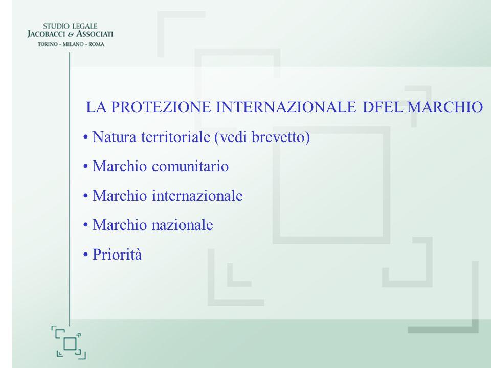 LA PROTEZIONE INTERNAZIONALE DFEL MARCHIO Natura territoriale (vedi brevetto) Marchio comunitario Marchio internazionale Marchio nazionale Priorità