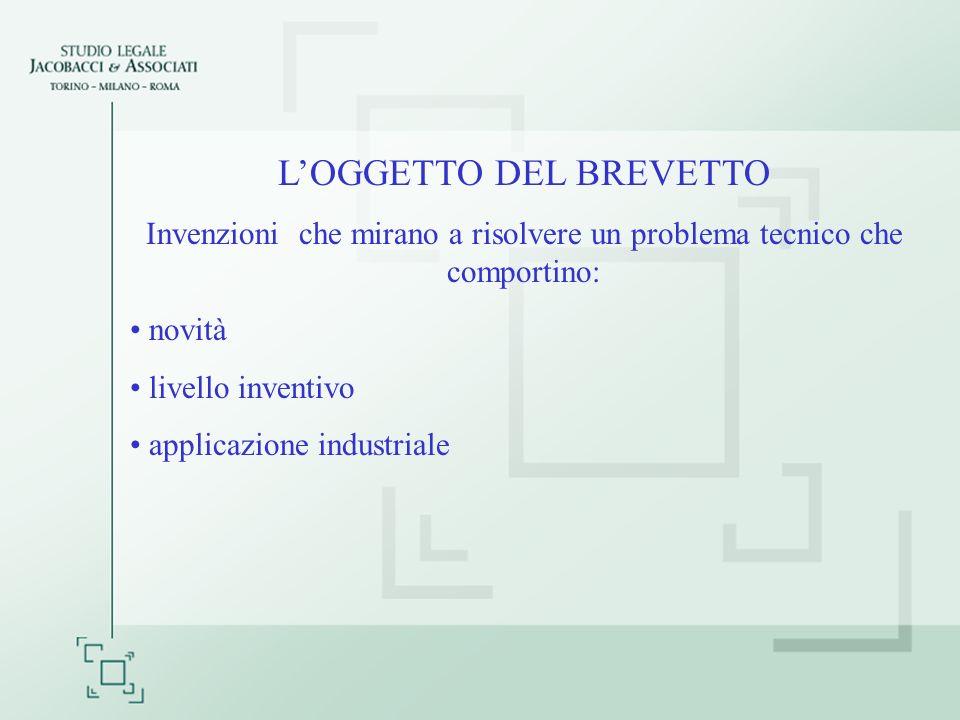 LOGGETTO DEL BREVETTO Invenzioni che mirano a risolvere un problema tecnico che comportino: novità livello inventivo applicazione industriale