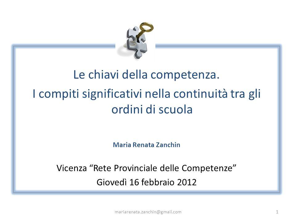 Le chiavi della competenza. I compiti significativi nella continuità tra gli ordini di scuola Maria Renata Zanchin Vicenza Rete Provinciale delle Comp