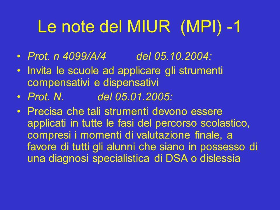Le note del MIUR (MPI) -1 Prot.