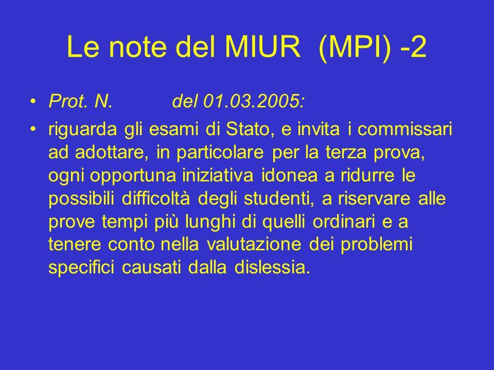 Le note del MIUR (MPI) -2 Prot. N.