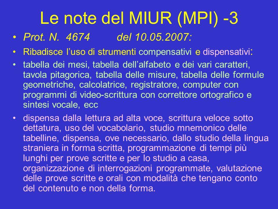 Le note del MIUR (MPI) -3 Prot. N.