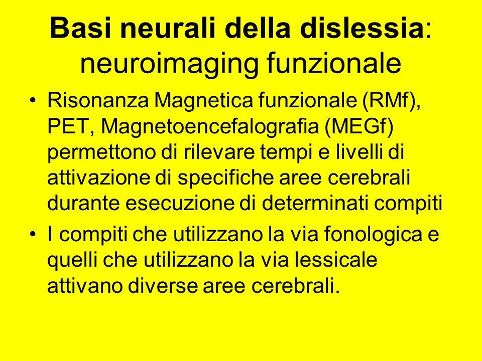 Basi neurali della dislessia: neuroimaging funzionale Risonanza Magnetica funzionale (RMf), PET, Magnetoencefalografia (MEGf) permettono di rilevare tempi e livelli di attivazione di specifiche aree cerebrali durante esecuzione di determinati compiti I compiti che utilizzano la via fonologica e quelli che utilizzano la via lessicale attivano diverse aree cerebrali.