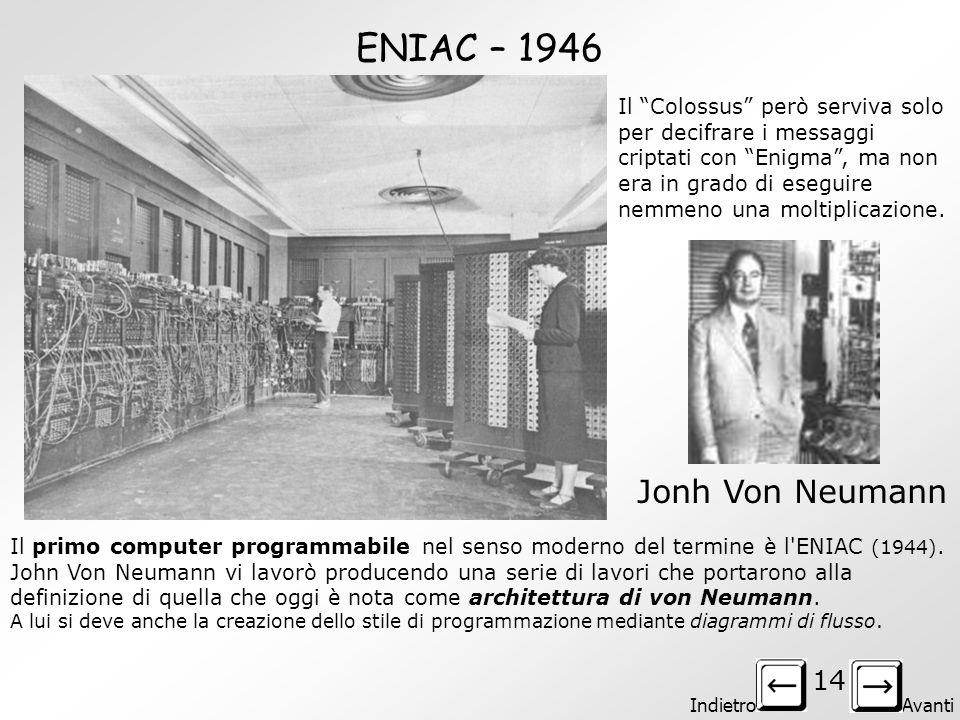 Indietro Avanti 13 Il COLOSSUS - 1943 Il primo computer in grado di forzare i codici radio dei nazisti. Era in grado di leggere, attraverso un sistema