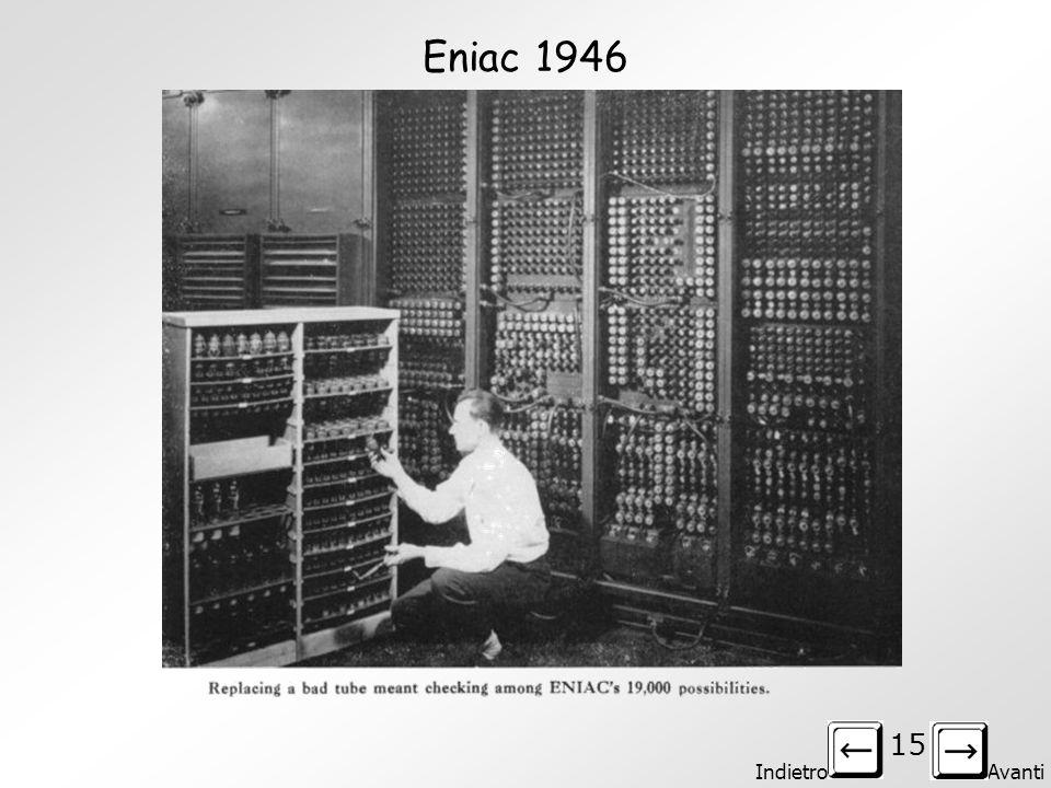 Indietro Avanti 14 ENIAC – 1946 Il primo computer programmabile nel senso moderno del termine è l'ENIAC (1944). John Von Neumann vi lavorò producendo