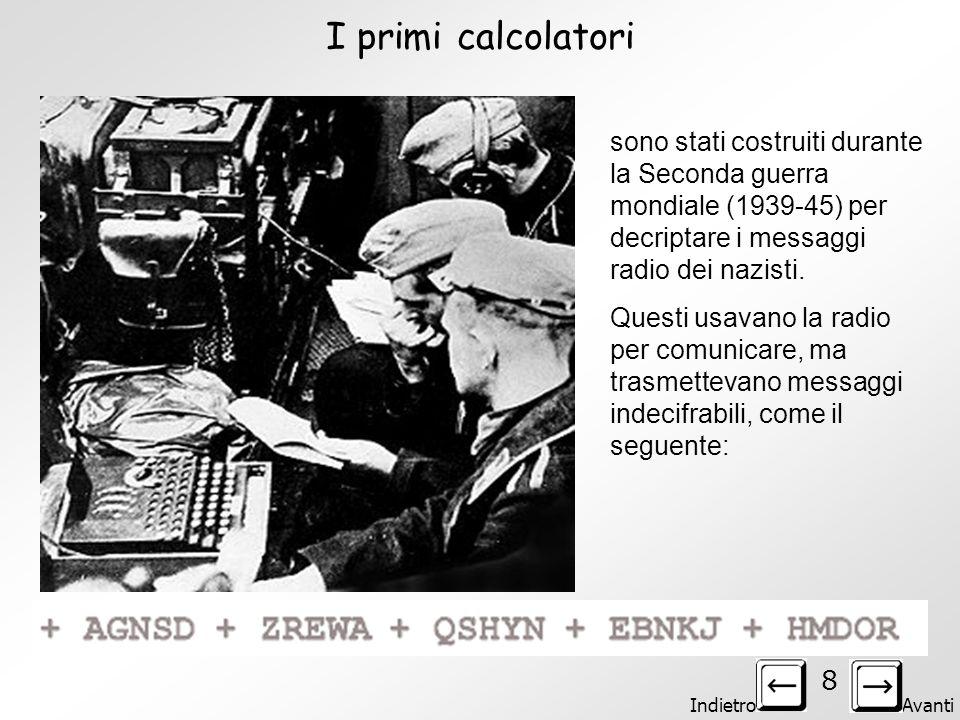 Indietro Avanti 8 I primi calcolatori sono stati costruiti durante la Seconda guerra mondiale (1939-45) per decriptare i messaggi radio dei nazisti.