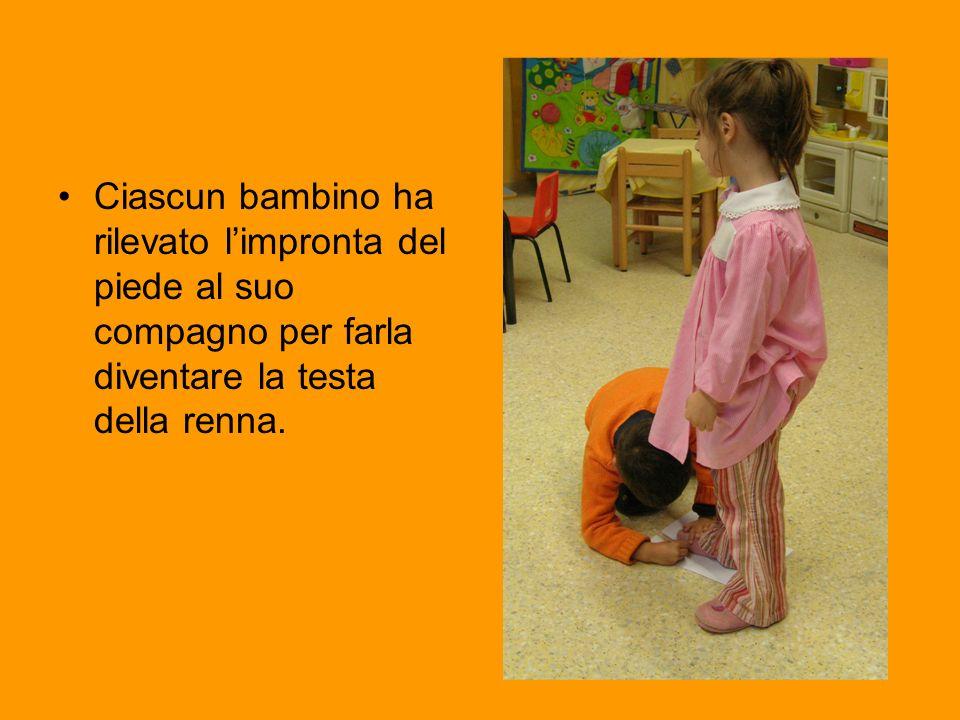 Ciascun bambino ha rilevato limpronta del piede al suo compagno per farla diventare la testa della renna.