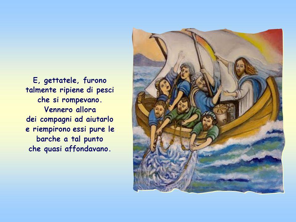Gesù, quando finì di insegnare, seduto sulla barca di Simone, disse a lui e ai suoi compagni di gettare le reti in mare; e Simone, pur affermando che