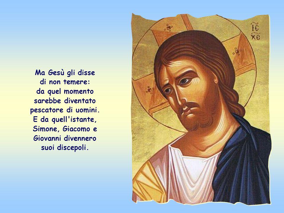 Simone, assai stupito, come lo erano anche Giacomo e Giovanni suoi compagni, si gettò allora ai piedi di Gesù, pregandolo di allontanarsi da lui pecca
