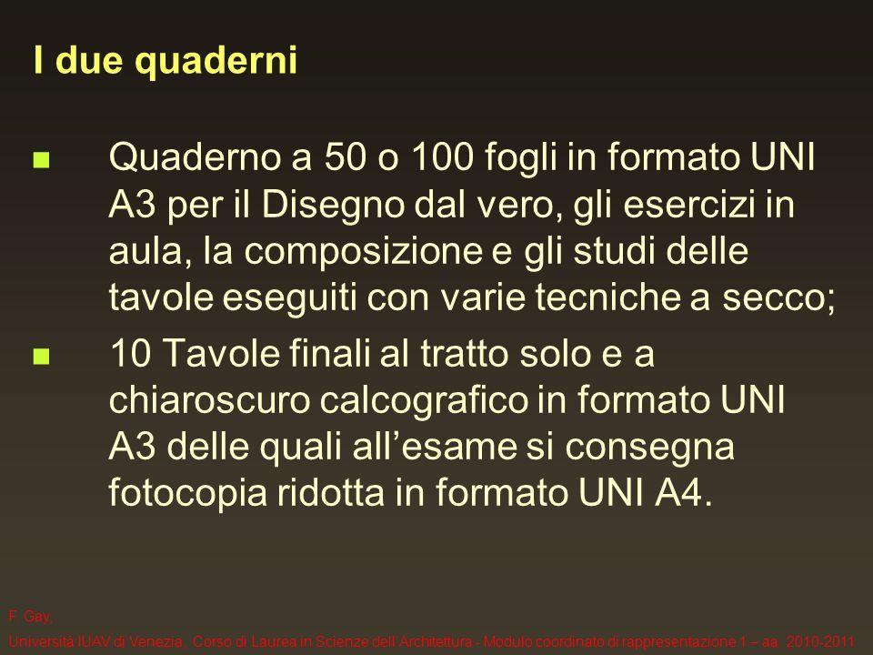 F. Gay, Università IUAV di Venezia, Corso di Laurea in Scienze dellArchitettura - Modulo coordinato di rappresentazione 1 – aa. 2010-2011 I due quader