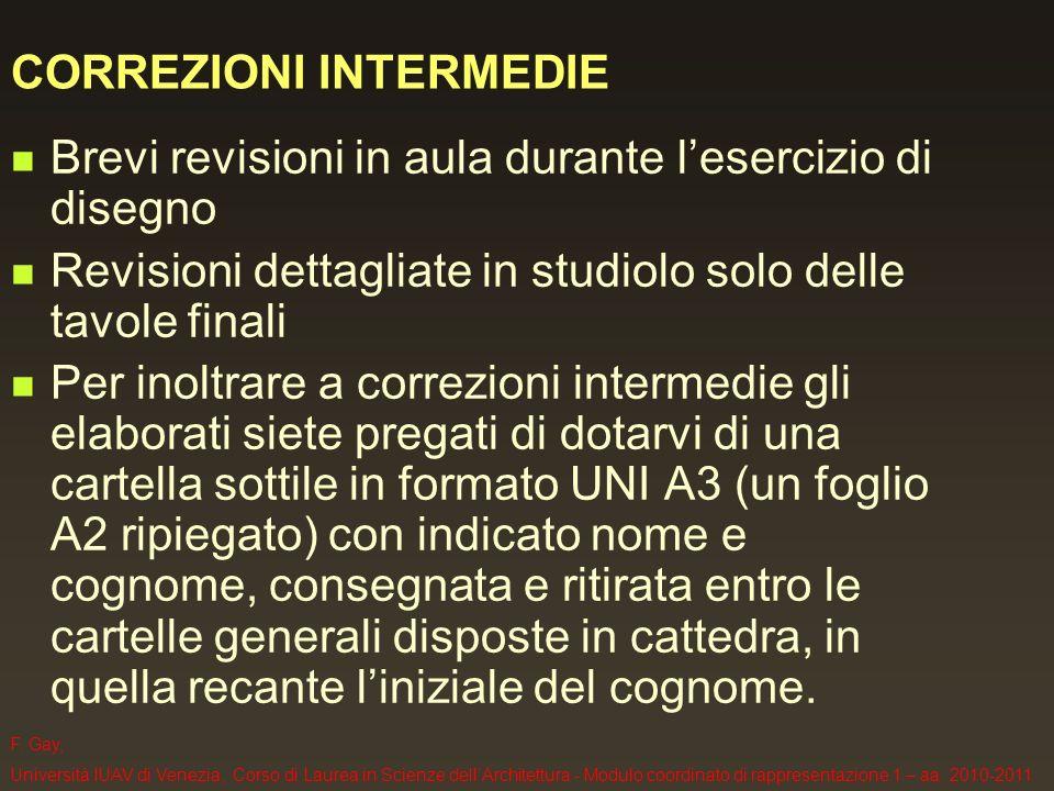 F. Gay, Università IUAV di Venezia, Corso di Laurea in Scienze dellArchitettura - Modulo coordinato di rappresentazione 1 – aa. 2010-2011 CORREZIONI I