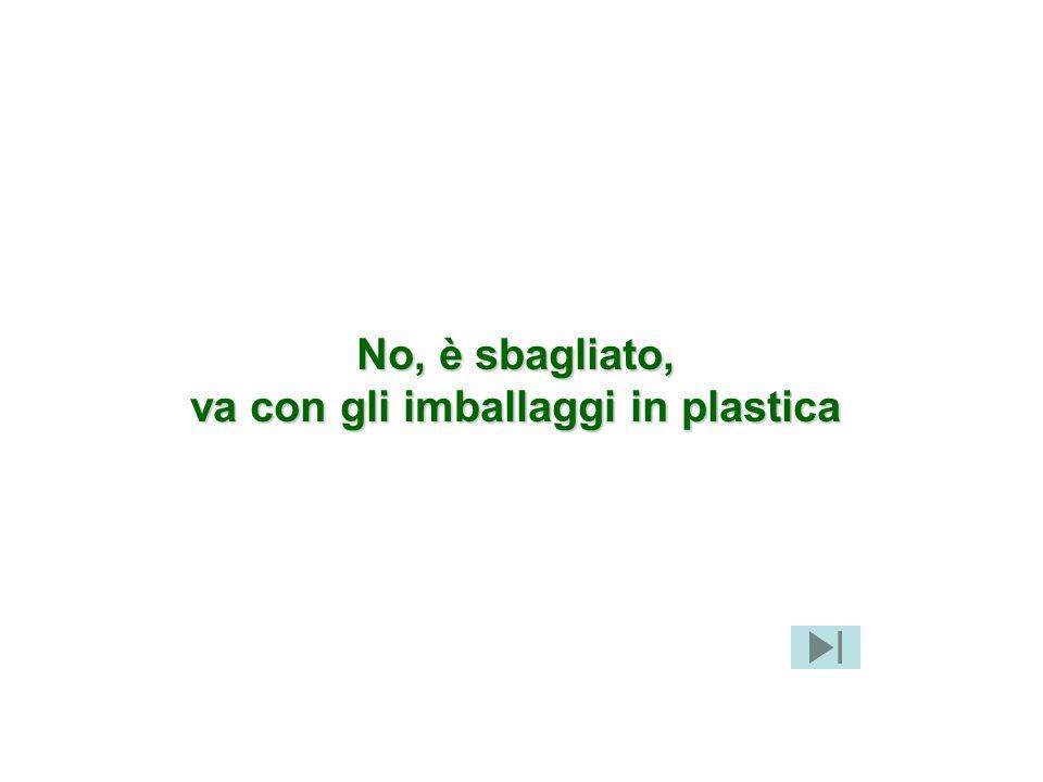 No, è sbagliato, va con gli imballaggi in plastica