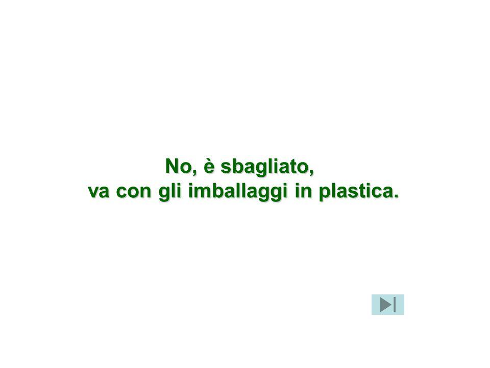 No, è sbagliato, va con gli imballaggi in plastica.