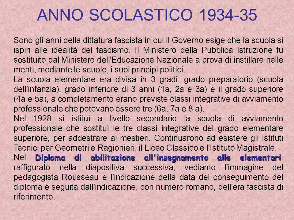 ANNO SCOLASTICO 1934-35 Sono gli anni della dittatura fascista in cui il Governo esige che la scuola si ispiri alle idealità del fascismo.
