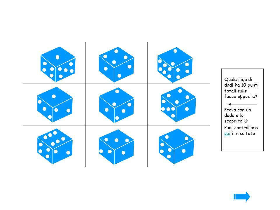 Quale riga di dadi ha 10 punti totali sulle facce opposte? Prova con un dado e lo scoprirai Puoi controllare qui il risultato qui
