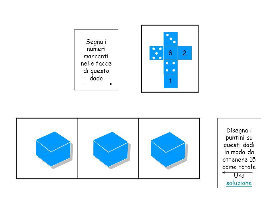 Disegna i puntini su questi dadi in modo da ottenere 15 come totale Una soluzione soluzione 62 1 Segna i numeri mancanti nelle facce di questo dado