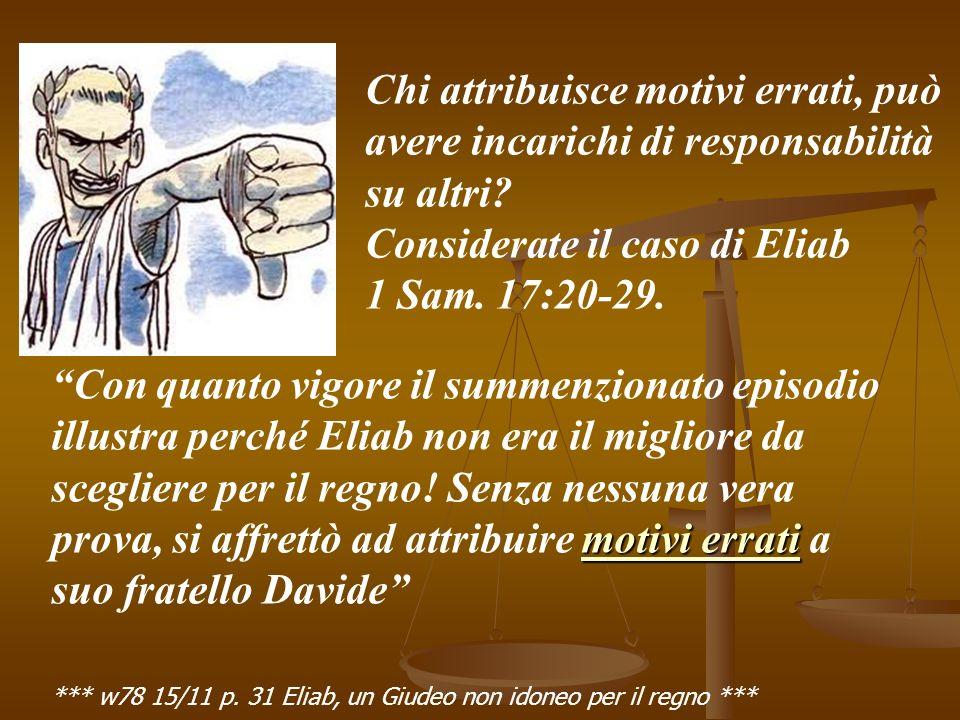 motivi errati Con quanto vigore il summenzionato episodio illustra perché Eliab non era il migliore da scegliere per il regno.